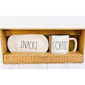 Rae Dunn Coffee Mug & Snack Oval Plate 2pc Set